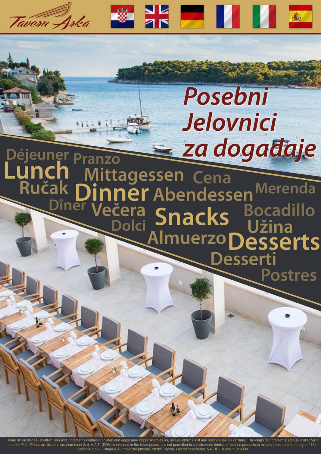Grupe i događaji - posebni jelovnici