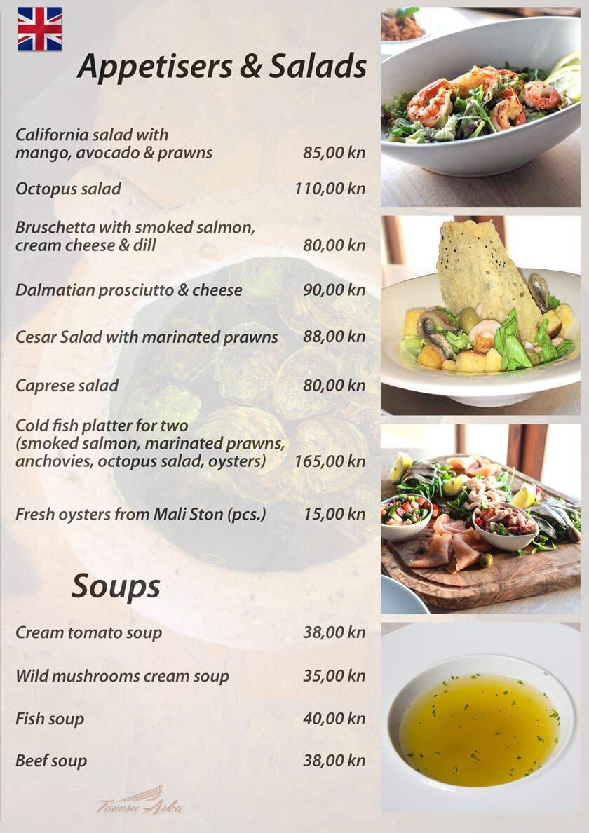 Appetisers menu