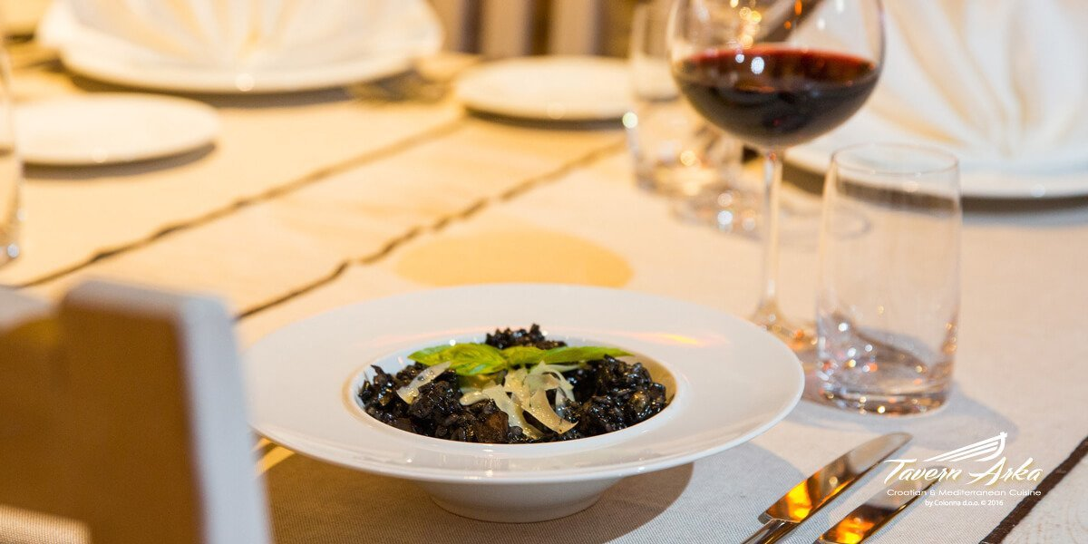 Black cuttlefish risotto served tavern arka zaton dubrovnik