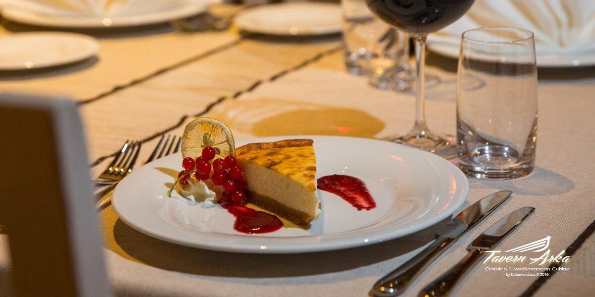 Cheese cake closeup serving tavern arka zaton dubrovnik