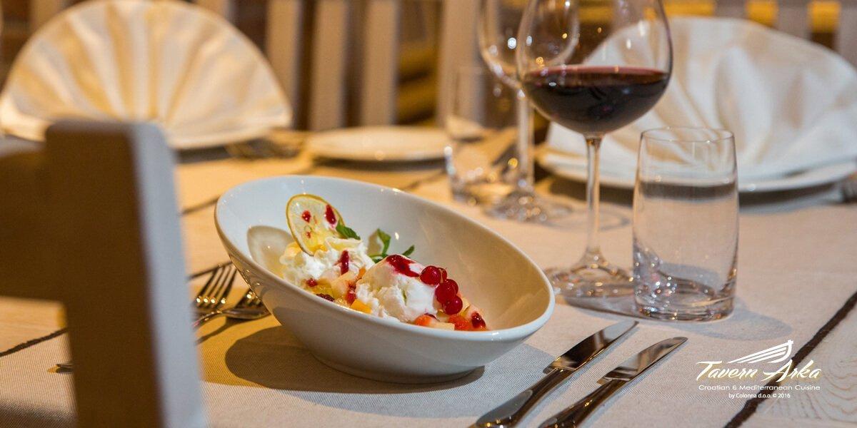 Fruit salad ice cream serving tavern arka zaton dubrovnik