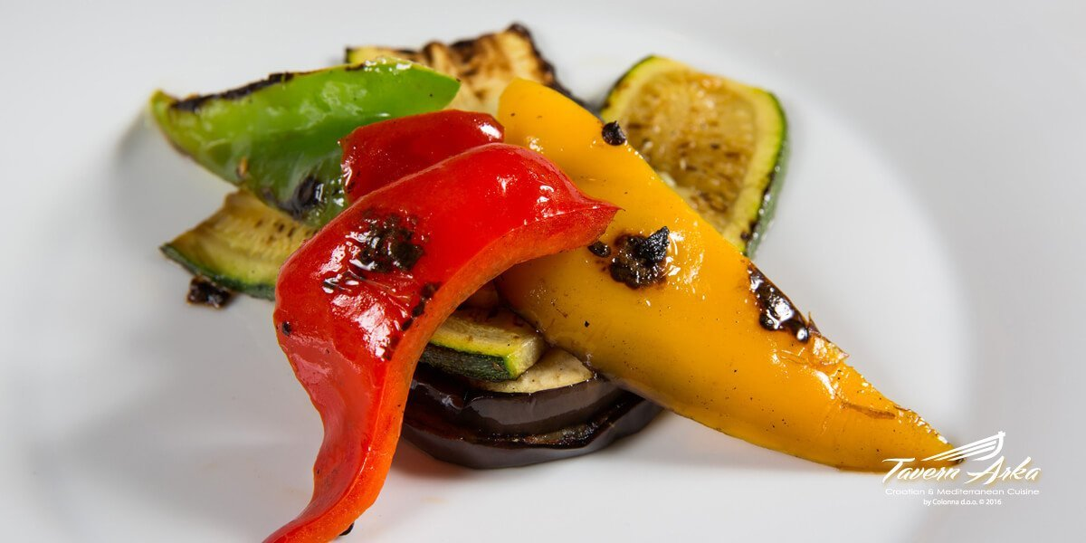 Grilled vegetables tavern arka zaton dubrovnik closeup