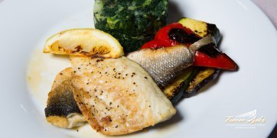 Grilled white fish fillet daily offer closeup tavern arka zaton dubrovnik