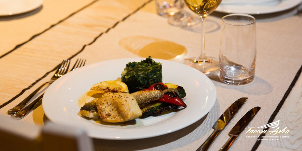 Grilled white fish fillet daily offer served closeup tavern arka zaton dubrovnik
