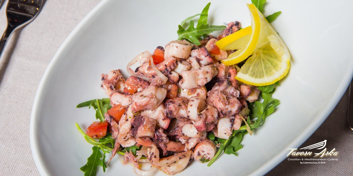 Octopus salad serving closeup tavern arka zaton dubrovnik