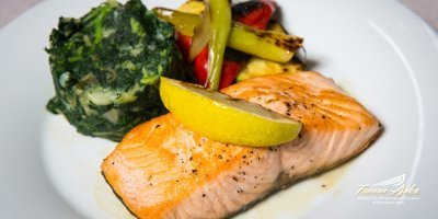 Salmon filet vegetables swiss chard closeup tavern arka zaton dubrovnik