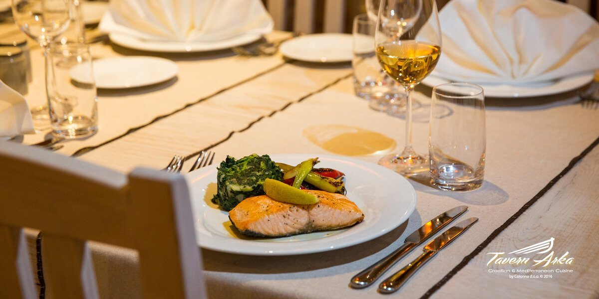 Salmon fillet vegetables swiss chard served closeup tavern arka zaton dubrovnik