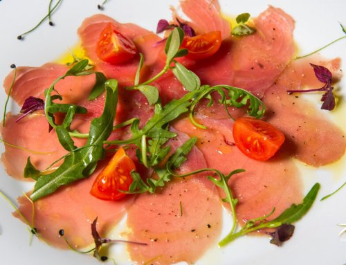 Tuna Carpaccio – Arugula & Cherry Tomatoes